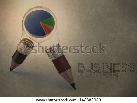 3d pencil light bulb drawing business success as vintage style concept - stock photo