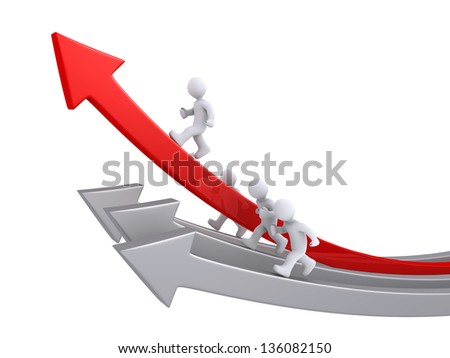3d people are running on arrows and one is the leader - stock photo