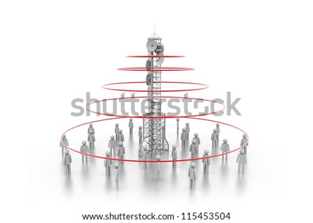 3d people around antenna - stock photo