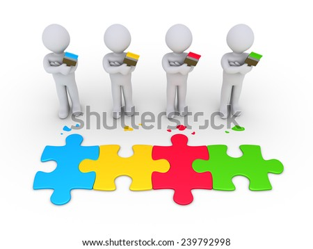 3d people as painters and different colored puzzle pieces connected - stock photo