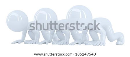 3D people at starting line. Isolated. Contains clipping path - stock photo
