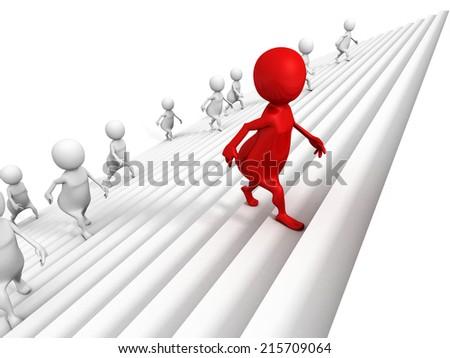 3d people awalking up on success ladder steps with red leader. business concept 3d render illustration - stock photo