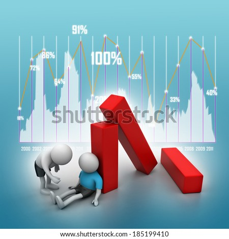 3d people, business loss concept   - stock photo