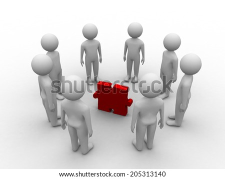 3D people character , person in circle, and puzzle pieces ( jigsaw ) - stock photo