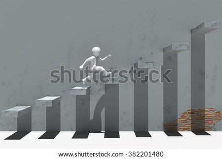 3d people character running up on stairs. - stock photo