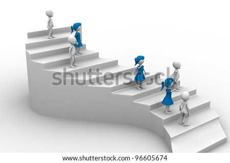 3d people character running up on stairs