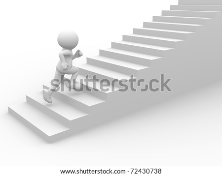3d people character running up on stairs - 3d render