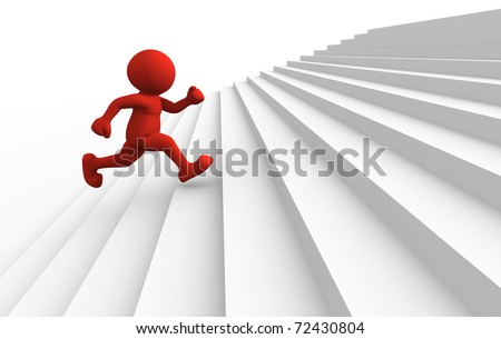 3d people character running up on stairs - 3d render - stock photo