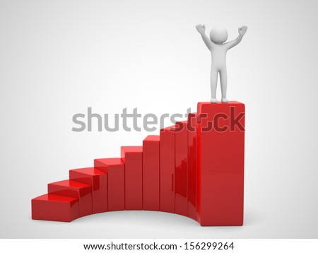 3d people climb the staircase - stair. 3d render - stock photo