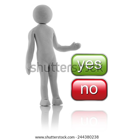 "3D people - concept. Man, person choosing between ""yes"" or ""no"" buttons. - stock photo"
