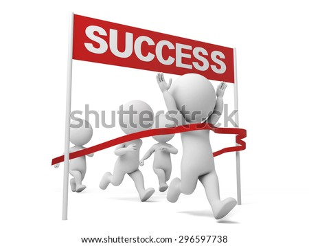 3d people crossing the finishing line. 3d image. Isolated white background.