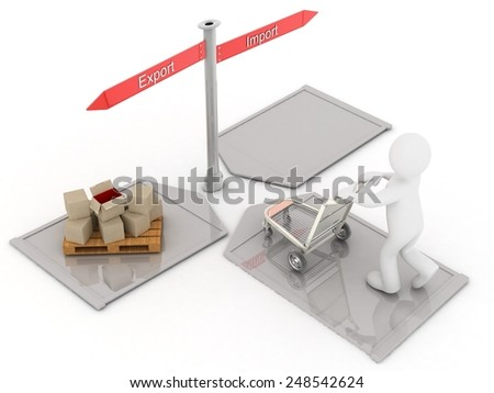 3D people-delivery (import-export) - stock photo