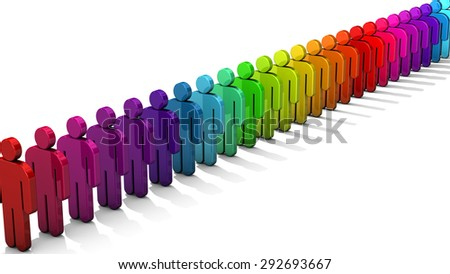 3D people figure in row of colorful figures isolated on white background