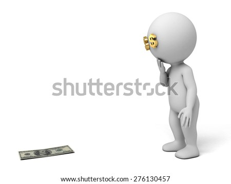 3d people find some dollars. 3d image. Isolated white background