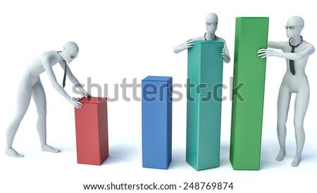 3d people - group of people putting blocks Statistics - stock photo