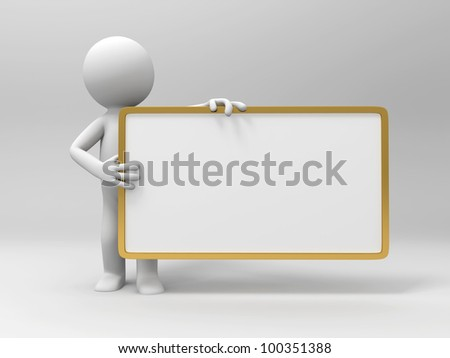 3d people hold an empty signboard - stock photo