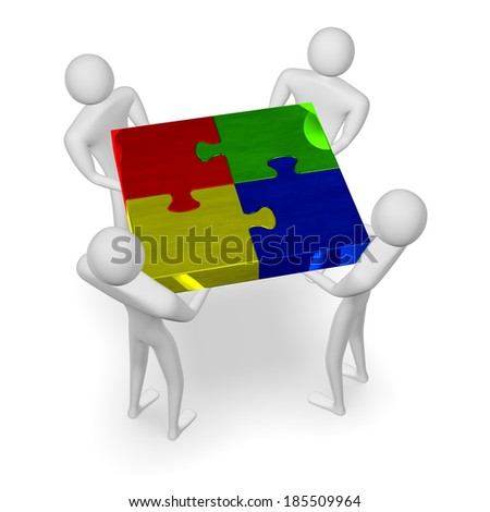 3d people holding assembled reflective multicolor puzzle isolated on white