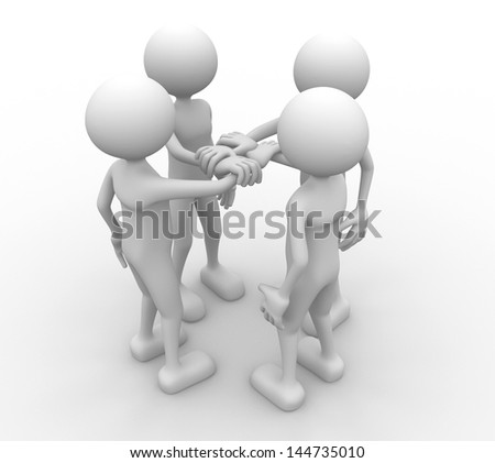 3d people holding hands together - stock photo