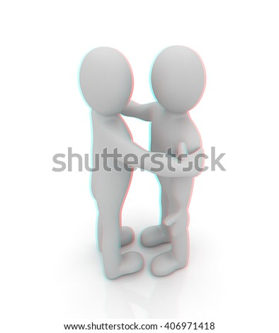 3d people hug . 3D illustration. Anaglyph. View with red/cyan glasses to see in 3D.