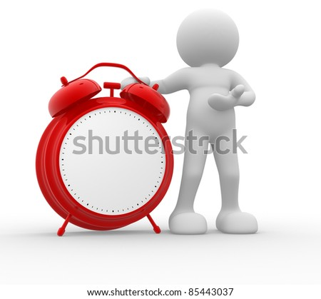 3d people - human character and a red classic alarm clock. 3d render illustration - stock photo