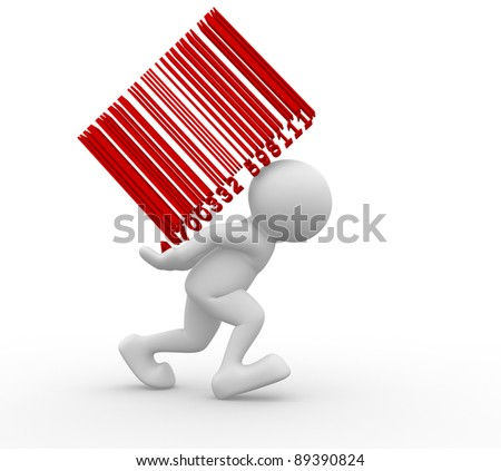 3d people - human character and bar code - This is a 3d render illustration - stock photo