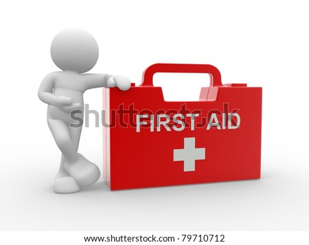 3d people - human character and first aid. 3d render illustration - stock photo