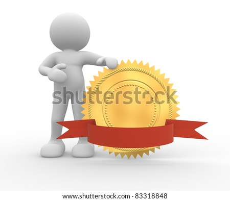3d people - human character and golden guarantee medal with red bow. 3d render illustration - stock photo