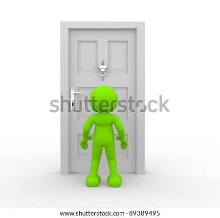 3d people - human character and knocker on door  . 3d render illustration