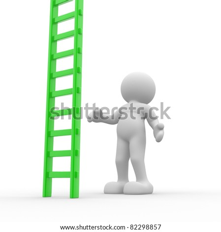 3d people - human character and ladder. this is a 3d render illustration