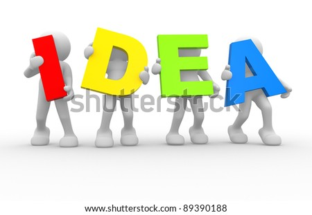 "3d people- human character and word"" Idea"". 3d render illustration - stock photo"