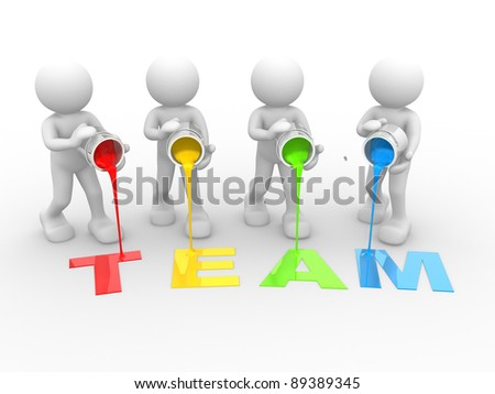 "3d people- human character and word ""team"" - This is a 3d render illustration"