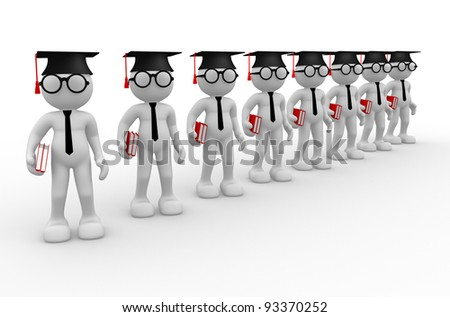 3d people - human character , books and  person  with graduation cap . 3d render - stock photo