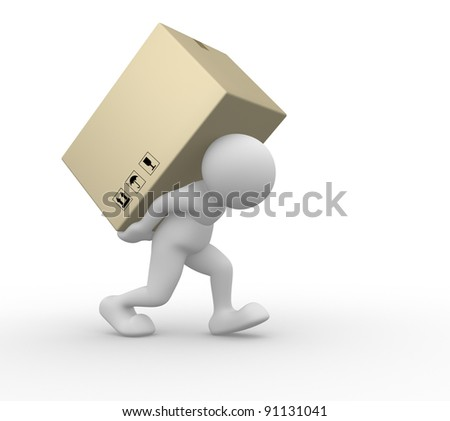 3d people - human character carry a big package . 3d render illustration - stock photo