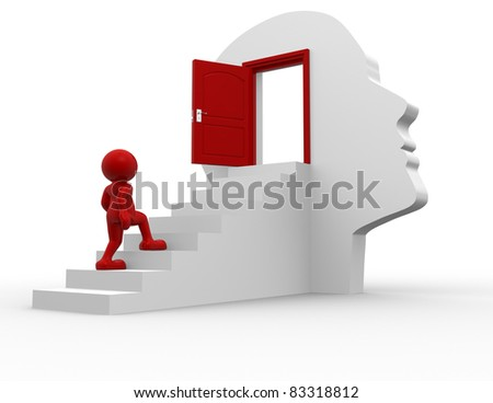 3d people - human character  climbing the stairs to the open door - this is a 3d render illustration - stock photo