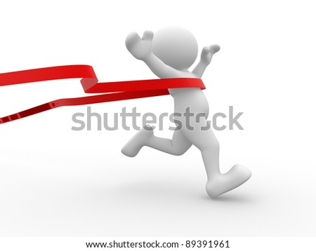 3d people - human character crossing the finishing line. 3d render illustration - stock photo