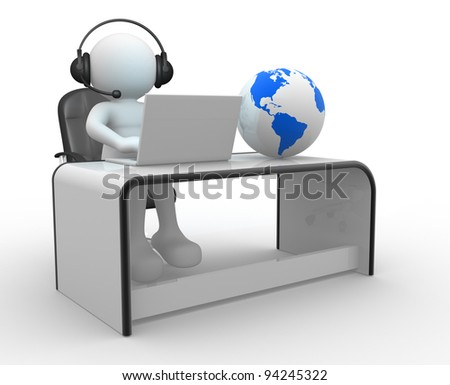 3d people - human character . Earth globe and a person with headphones and laptop at a office. 3d render