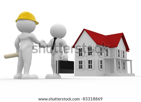 3d people- human character - engineer and house buyer. 3d render illustration - stock photo