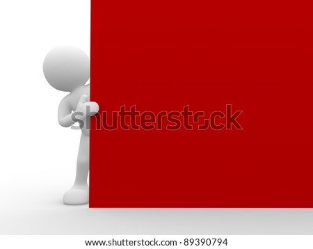 3d people-human character holding a board.This is a 3d render illustration - stock photo