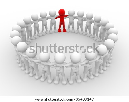 3d people - human character in circle with leadership.3d render illustration - stock photo