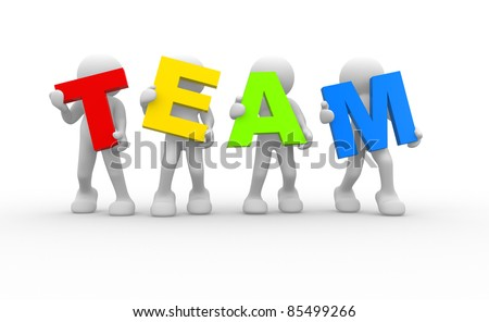 3D people- human character in team - This is a 3d render illustration - stock photo