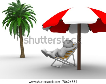 3d people- human character lies in vacantion. This is a 3d render illustration - stock photo