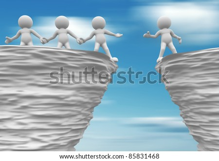 3d people - human character near cliff - stock photo