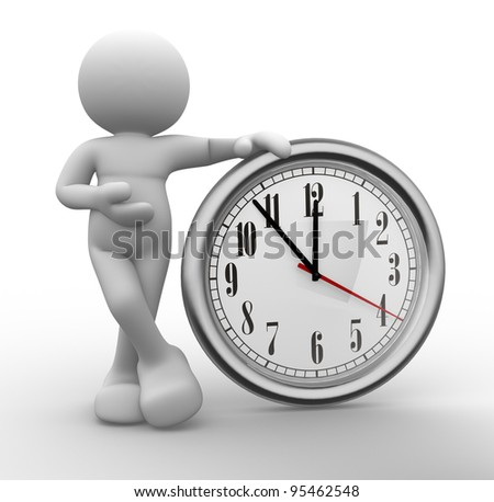 3d people - human character, person  and a clock. 3d render - stock photo