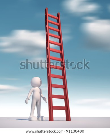 3d people - human character ,  person  and a ladder  - stair.  3d render - stock photo
