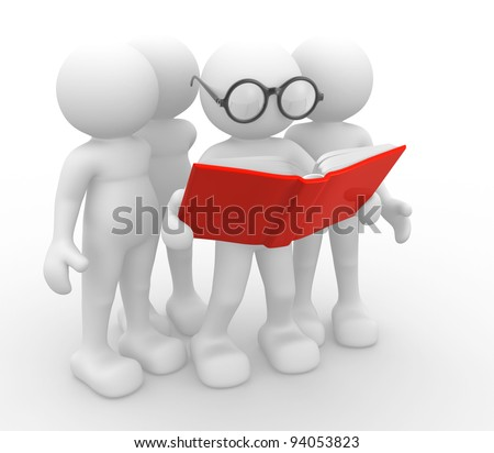 3d people -human character, person and a open book. 3d render - stock photo