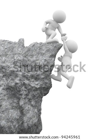 3d people - human character , person and a rock . Helping hand. 3d render - stock photo