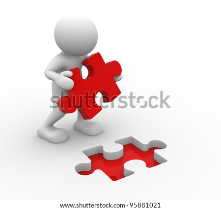 3d people - human character, person and last piece of puzzle ( jigsaw). 3d render - stock photo