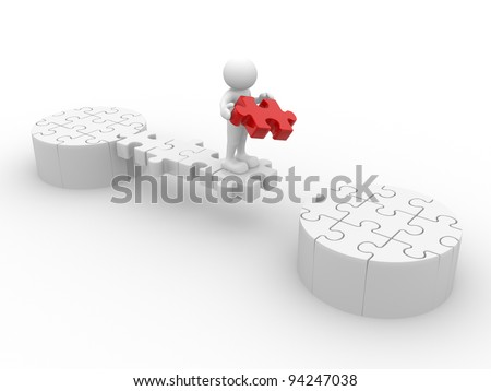 3d people - human character, person and last piece of puzzle ( jigsaw ) . 3d render illustration - stock photo