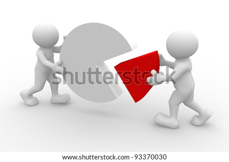 3d people - human character, person and  pie chart.  Percentage. 3d render illustration - stock photo
