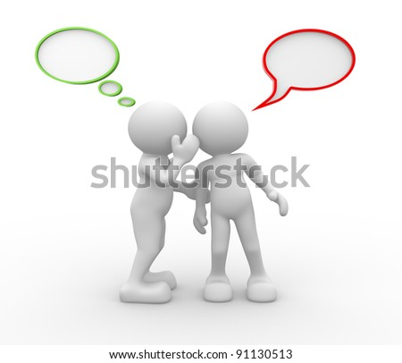 3d people - human character  person and speech bubbles - Go-sip  . 3d render illustration